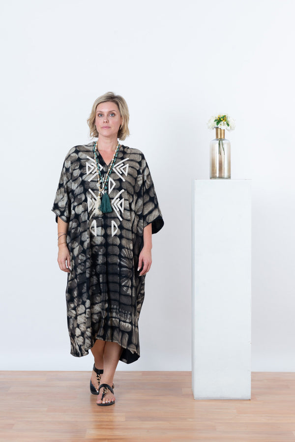 Nina Aztec Dot Maxi - Brown