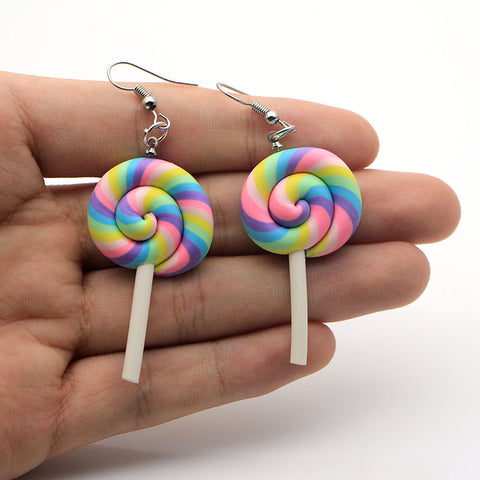 Rainbow swirl Lollipop Earrings 🍭