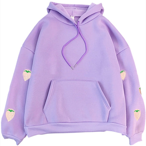 Strawberry Embroidery Hoodie 🍓