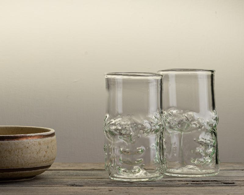 Handblown glass tumbler with elderflower