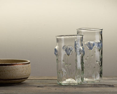 Handblown glass tumbler with cornflower
