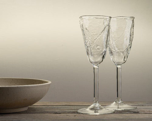 Handblown prosecco glass with moss texture