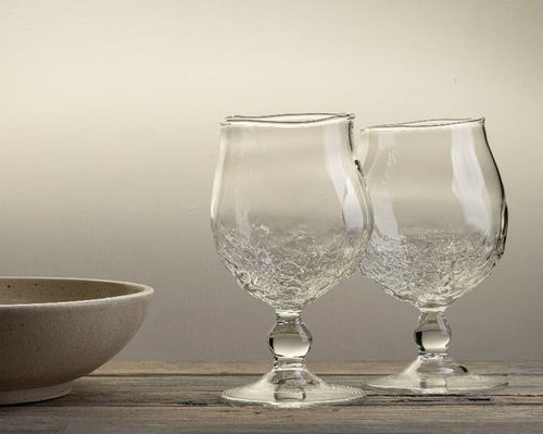 Handblown gin glass with seashore texture