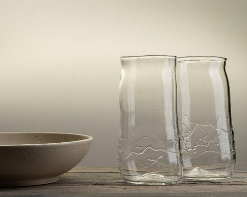 Handblown beer glass with mountain design