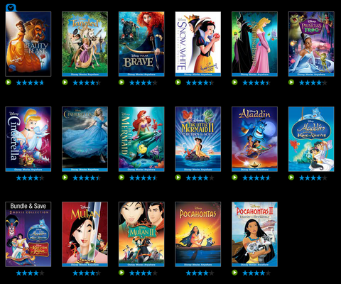 VUDU Disney Princess Sale