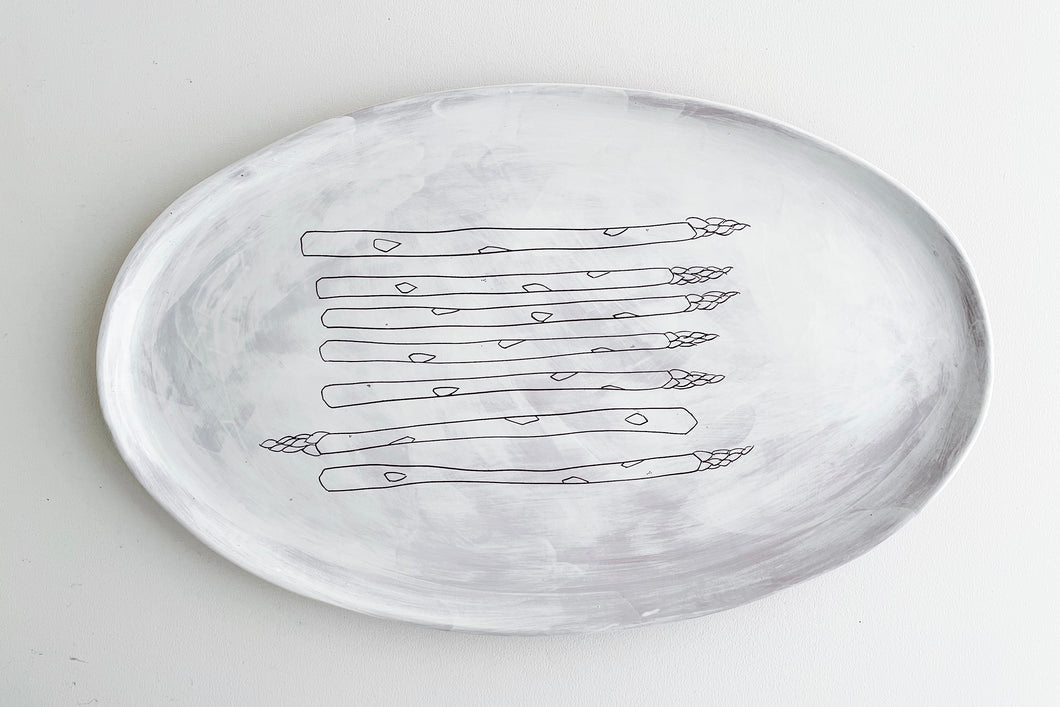 White Asparagus Earthenware Oval Platter (second)