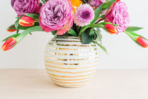 Porcelain Gold Striped Vase