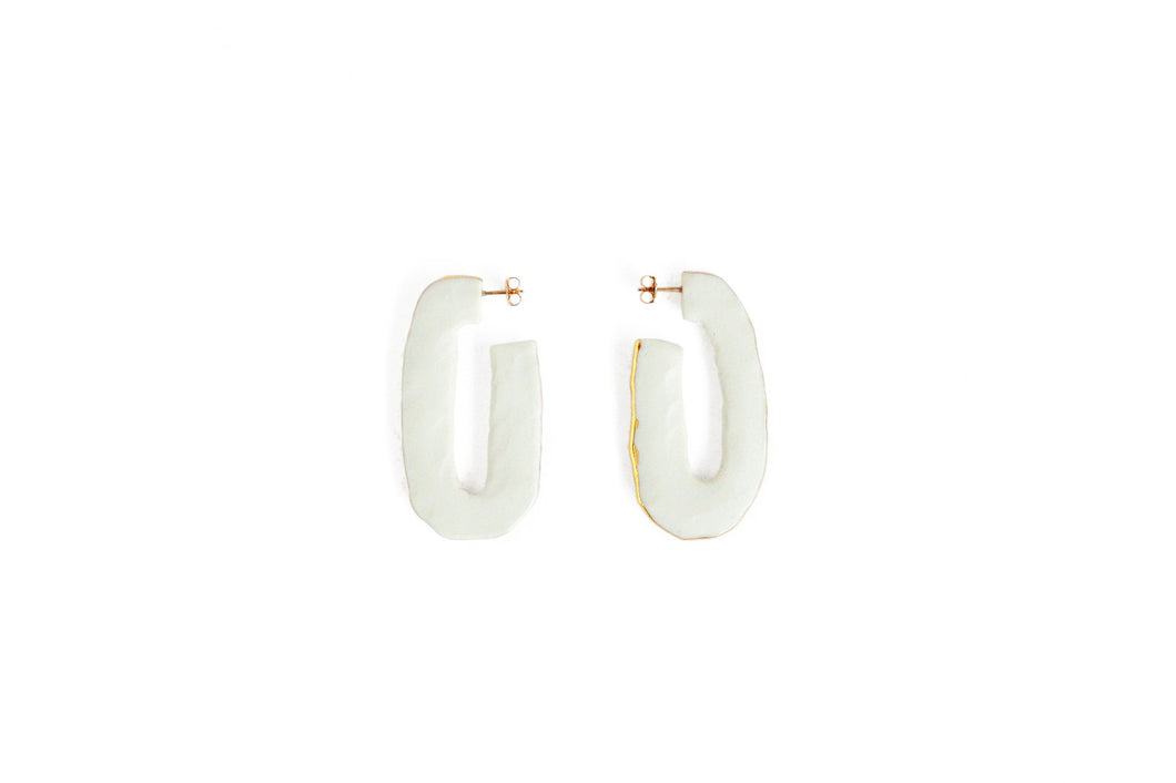 Porcelain Pinched Oval Hoops