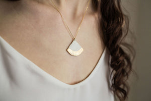 Porcelain Linen Fan Necklace