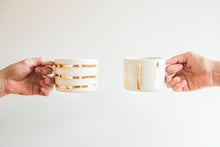 Load image into Gallery viewer, Porcelain Gold Striped Mug