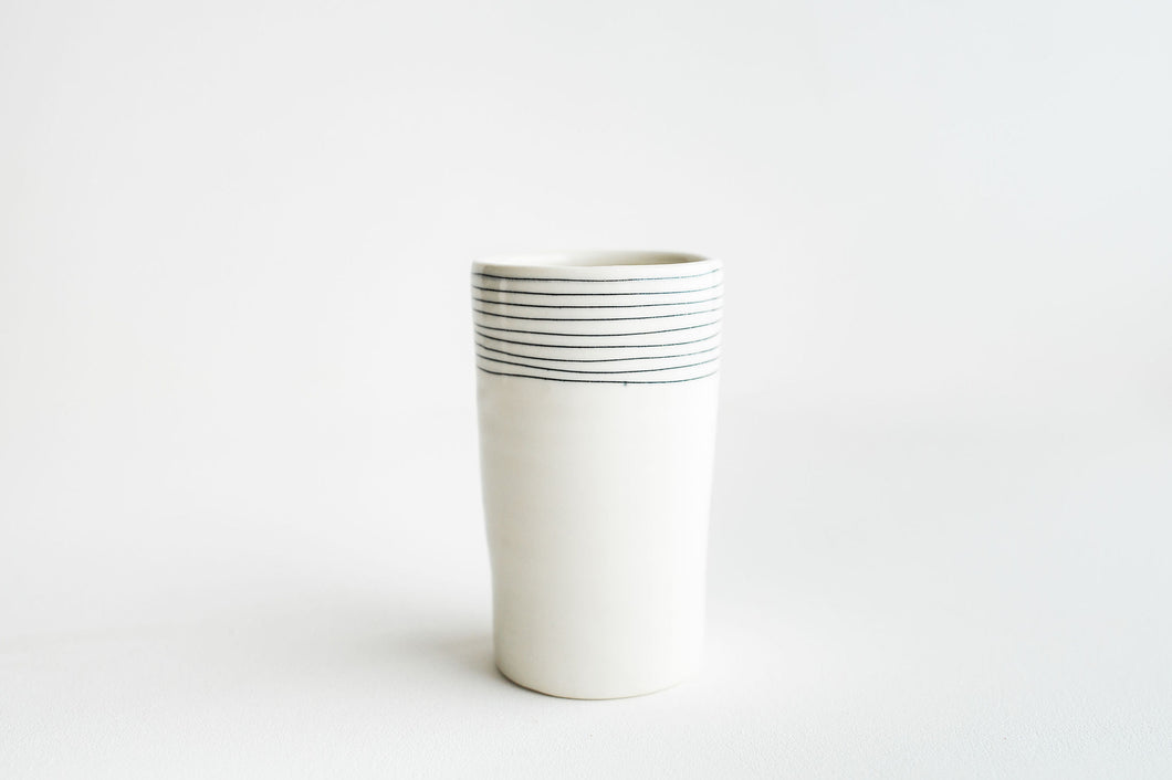Porcelain Pinstripe Tumbler/Vase (ready to ship)