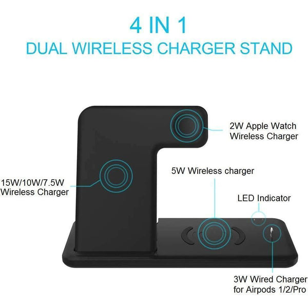 FDGAO 4 in 1 Qi 15W Fast Wireless Charging Station - Shopna Online Store