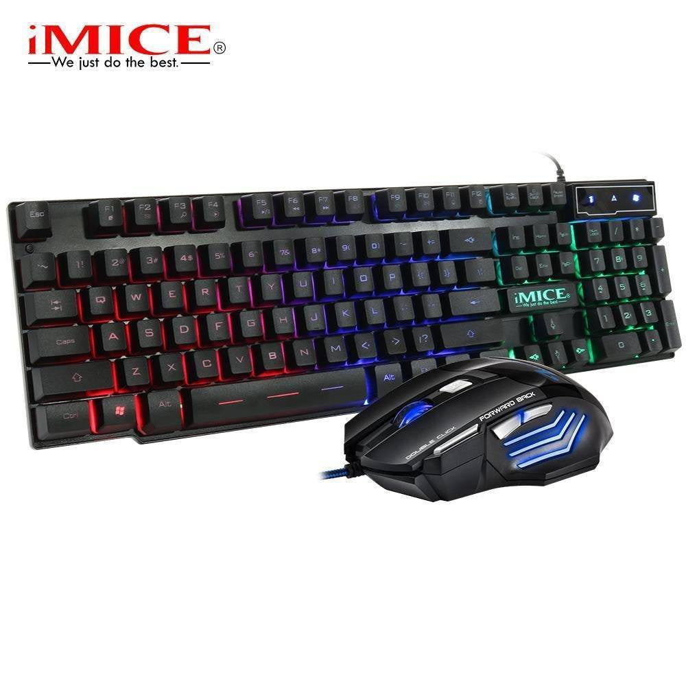 AN-300 Wired 104Keys Backlit Multimedia Ergonomic Gaming Keyboard and Mouse with Laser Printing + 2400DPI 7D Gaming mouse - Shopna Online Store