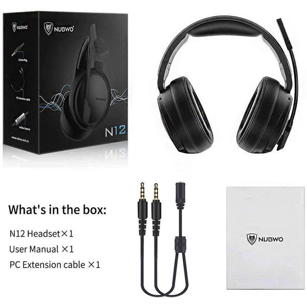 NUBWO N12 Gaming Headphone For PC Laptop With Mic Noise Cancelling 3.5mm AUX Volume Control Over-ear Headset - Shopna Online Store