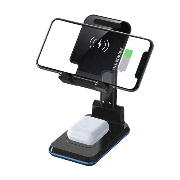 New 3 in 1 wireless charger foldable 10W dual wireless charger desktop mobile phone holder - Shopna Online Store