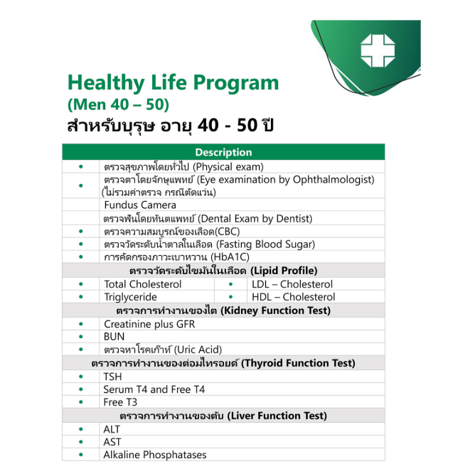 Male Healthy Life Program (Under 50)