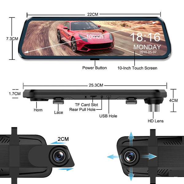 HD TouchScreen MirrorCam DashCam+Rearview DVR Gives you 3x the normal field of rearview vision