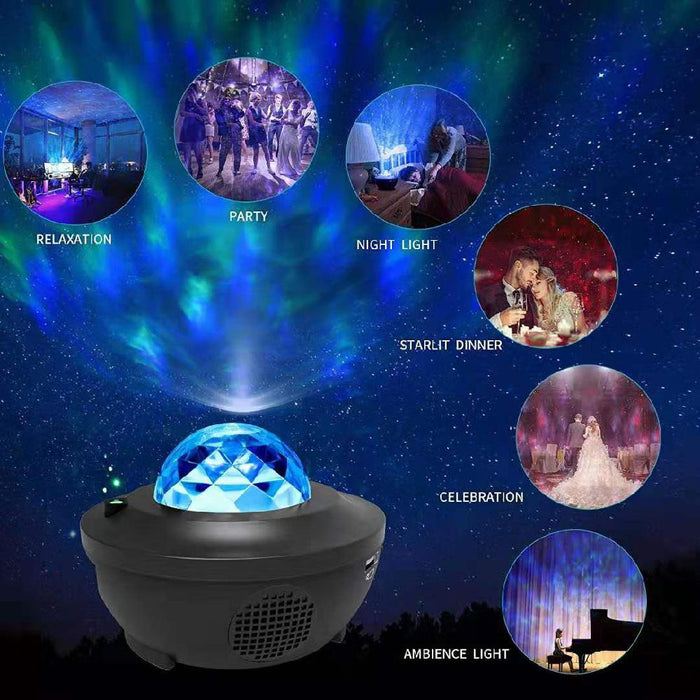 LED Star Projector Lamp w Bluetooth Remote and Sound Control