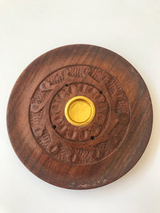 Round wood incense holder - small