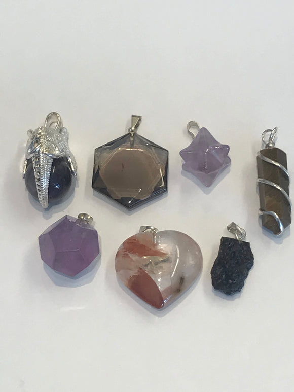 Assorted crystal pendants