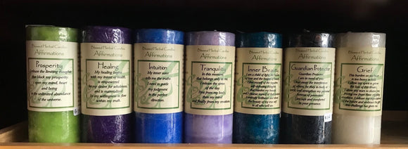Blessed herbal affirmation candles (short)