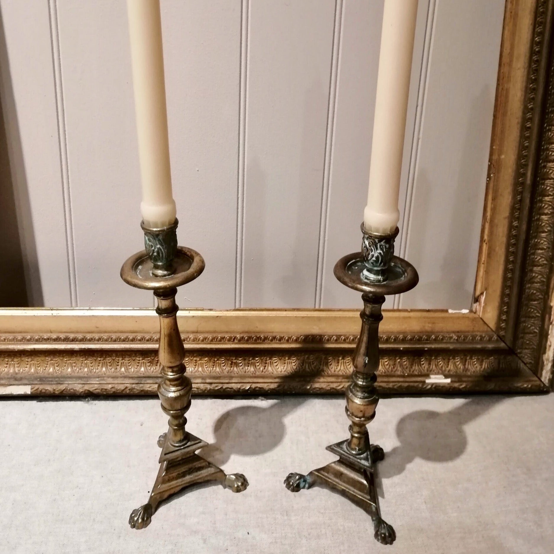 Pair of 20th Century Brass Candle Holders