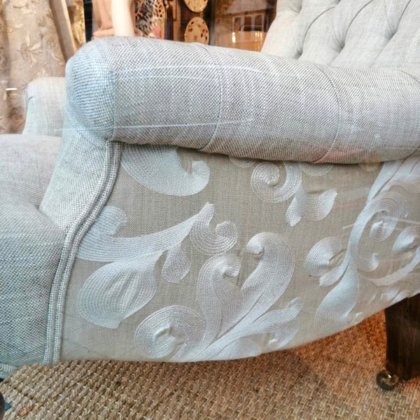 Reupholstered Buttoned Vintage Chair
