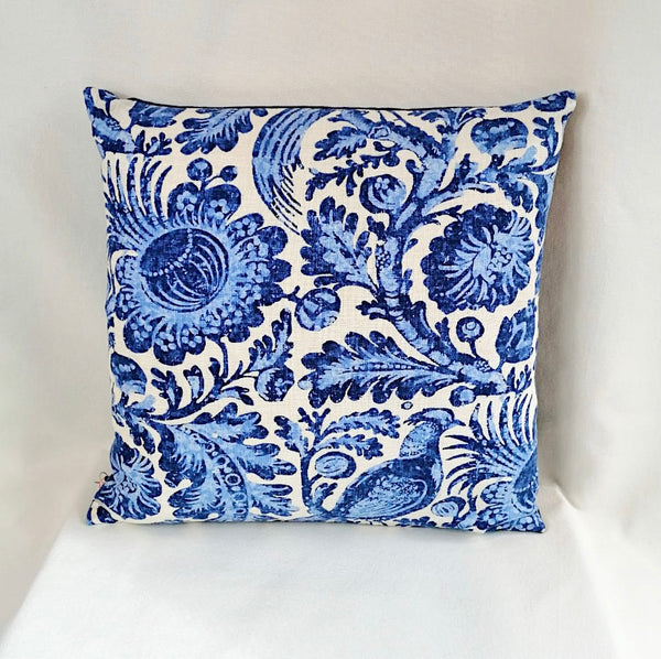 Christopher Moore Indigo Pheasant Linen Cushion