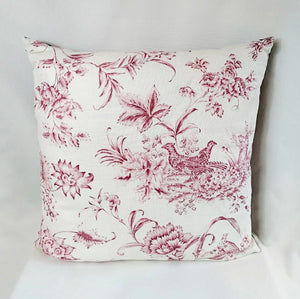 Deep Pink & White Designers Guild Linen Cushion