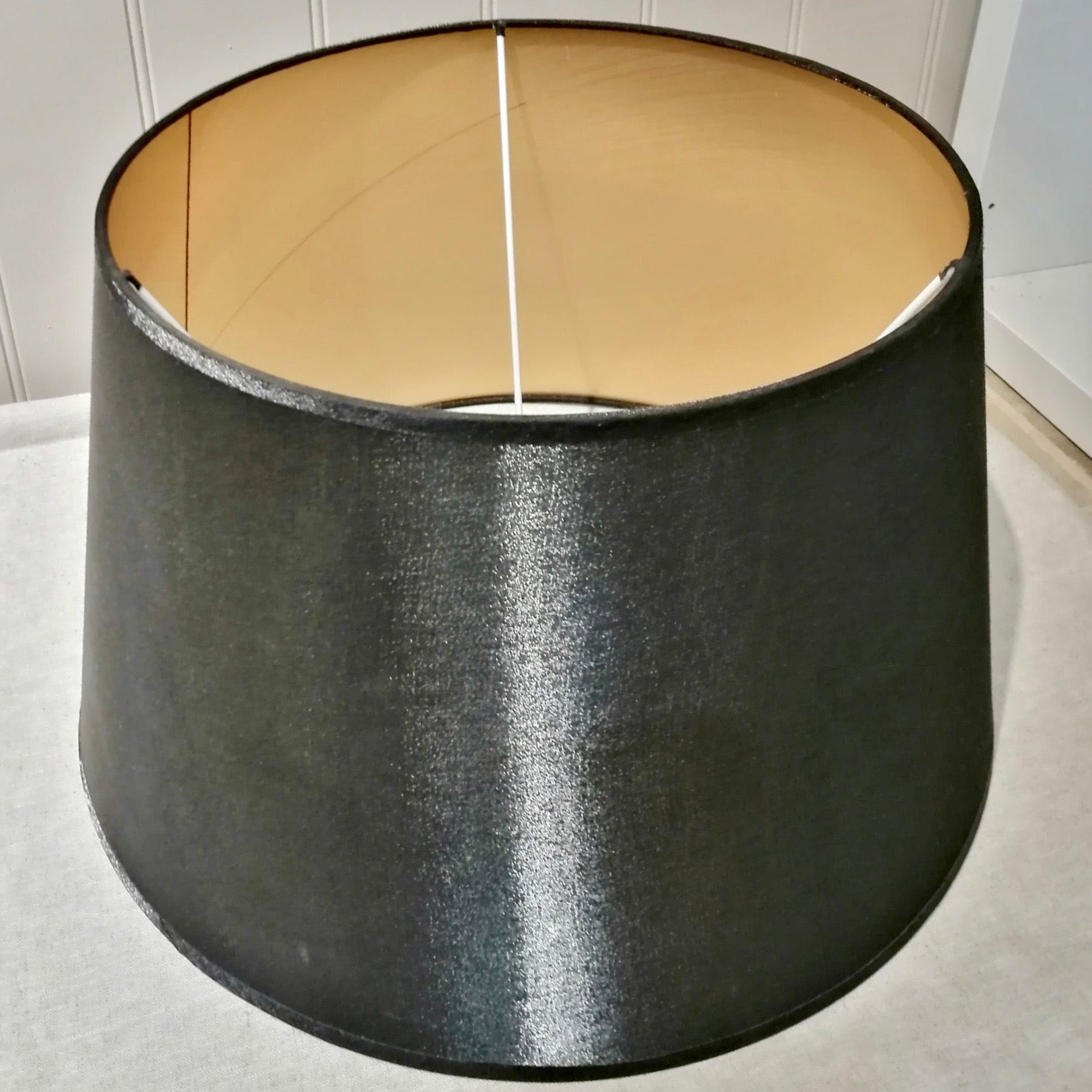 Large Black Lampshade with Gold Lining
