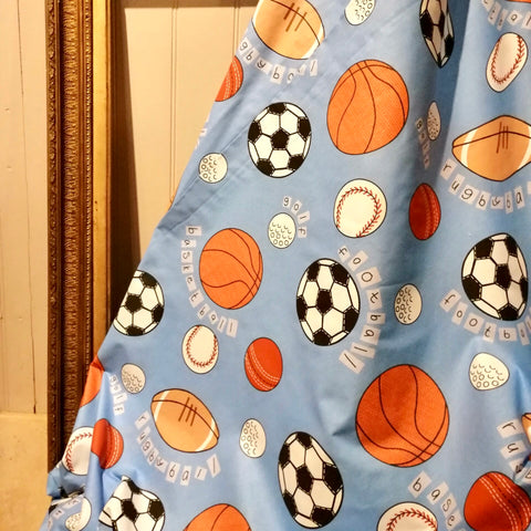 Childrens Blue Sports Pattern Fabric