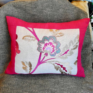 Pink Embroidered Designers Guild Linen Cushion