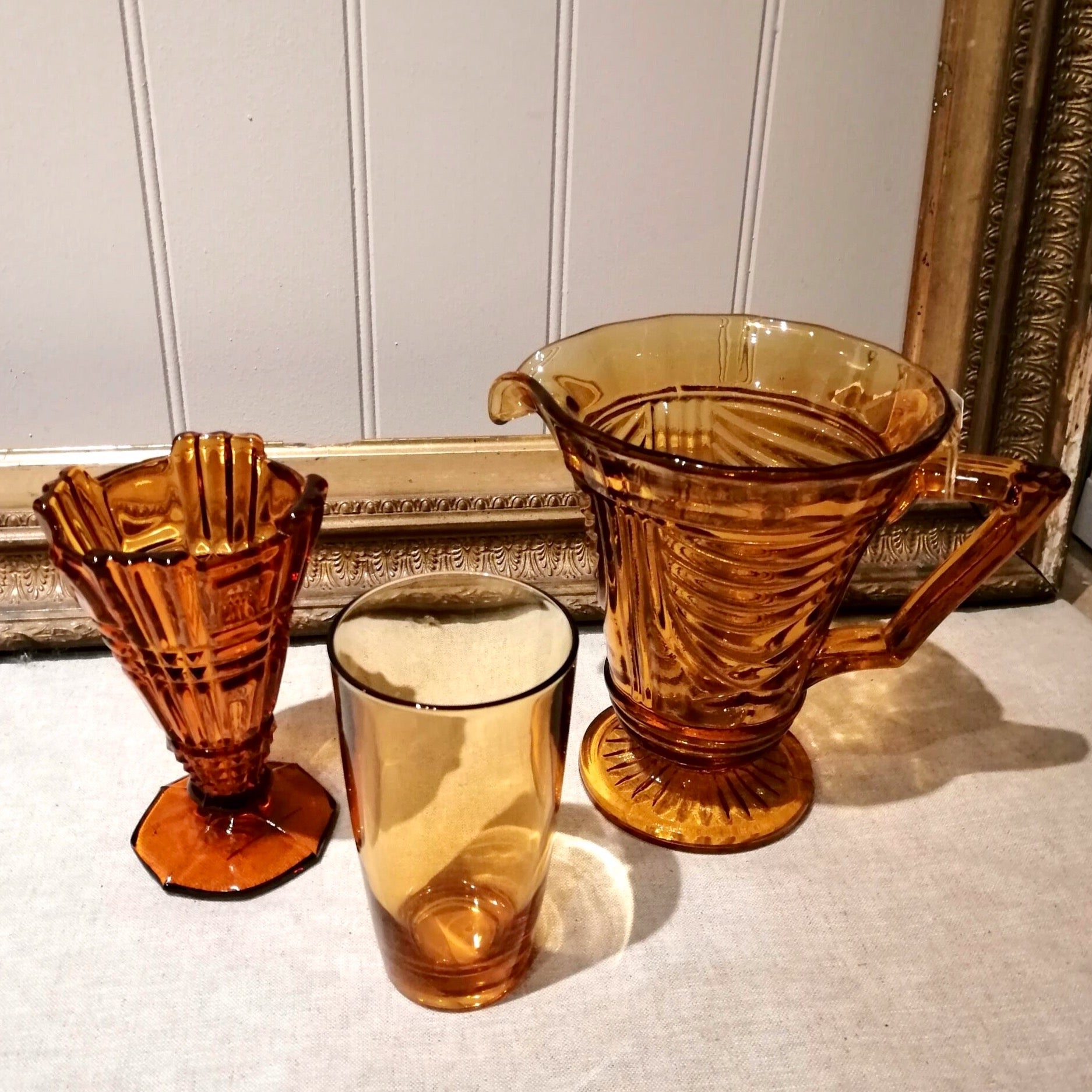 Vintage Amber Coloured Pressed Glassware