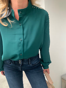 Billie Diamante Trim Blouse - Forest Green (Limited Edition)