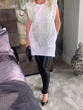 Load image into Gallery viewer, Verdi Padded Shoulder Sequin V Tee Dress - White/Silver