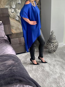 Grecia Cold Shoulder Asymmetric Knit Top - Electric Blue