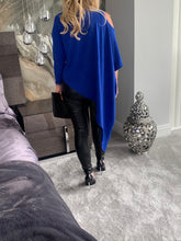 Load image into Gallery viewer, Grecia Cold Shoulder Asymmetric Knit Top - Electric Blue