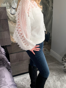 Emery Lace Boat-Neck Jumper - Snow White (Limited Edition)