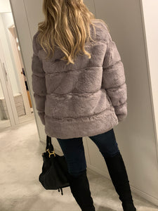 Felicity Faux Fur Coat - Silver Grey
