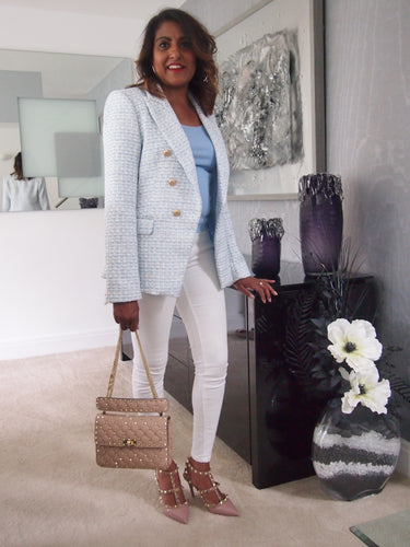 Pale Blue Tweed Balmain Inspired Blazer
