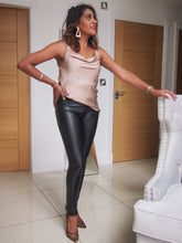 Load image into Gallery viewer, Black Leather Look Leggings