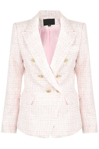 Victoria Double Breasted Tweed Blazer - Pale Pink