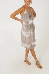 Indiana Tie Dye Day Dress - Stone