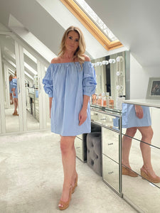 Kaylin Off Shoulder Dress - Blue
