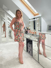 Load image into Gallery viewer, Fleur Strappy Floral Print Knotted Mini Dress - Multi