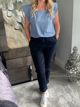 Load image into Gallery viewer, Jolie Padded Shoulder Sleeveless Tee - Sky Blue