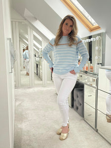 Marlo Button Sleeve Jumper - Baby Blue