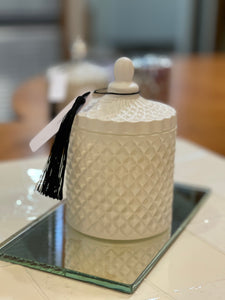 Medium Geometric Candle - White