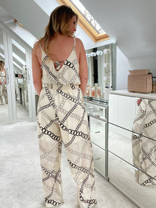 Chain Jumpsuit - Cream/Black