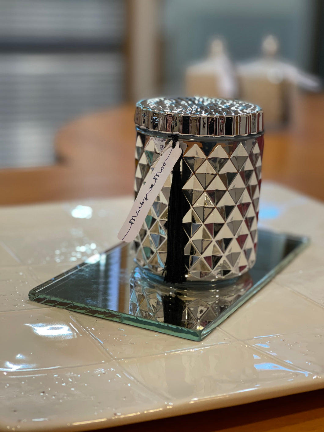 Geometric Flat Top Candle - Silver